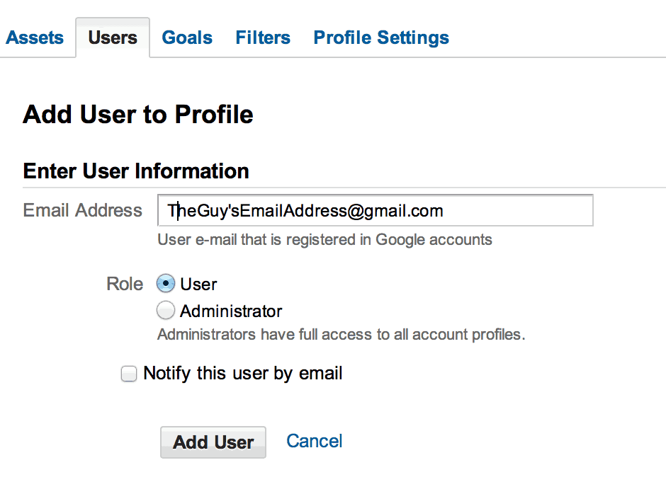 Google Analytics access sharing adding user