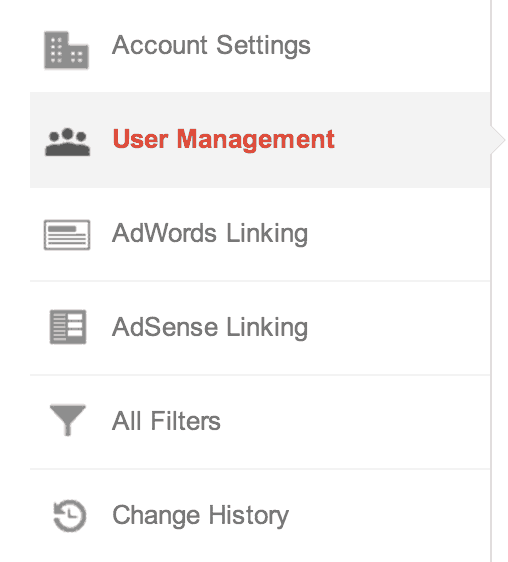 google analytics user management