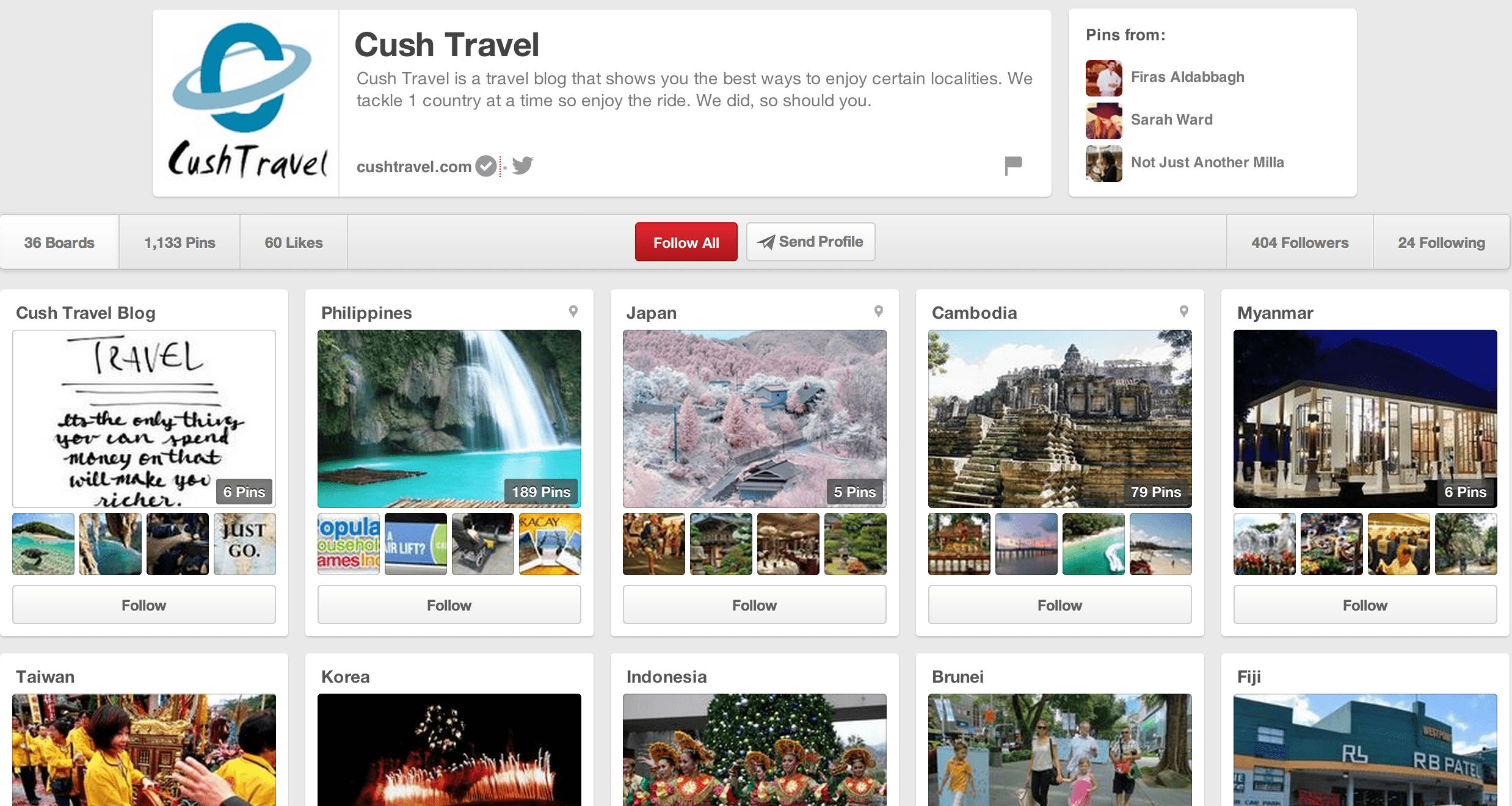 pinterest business page for travel and small businesses