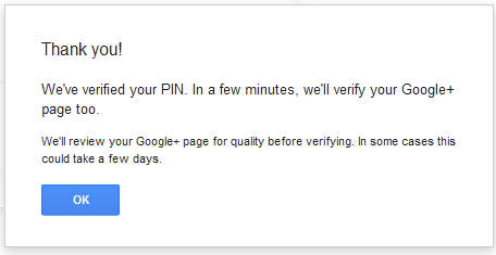 google+ local business verification pin