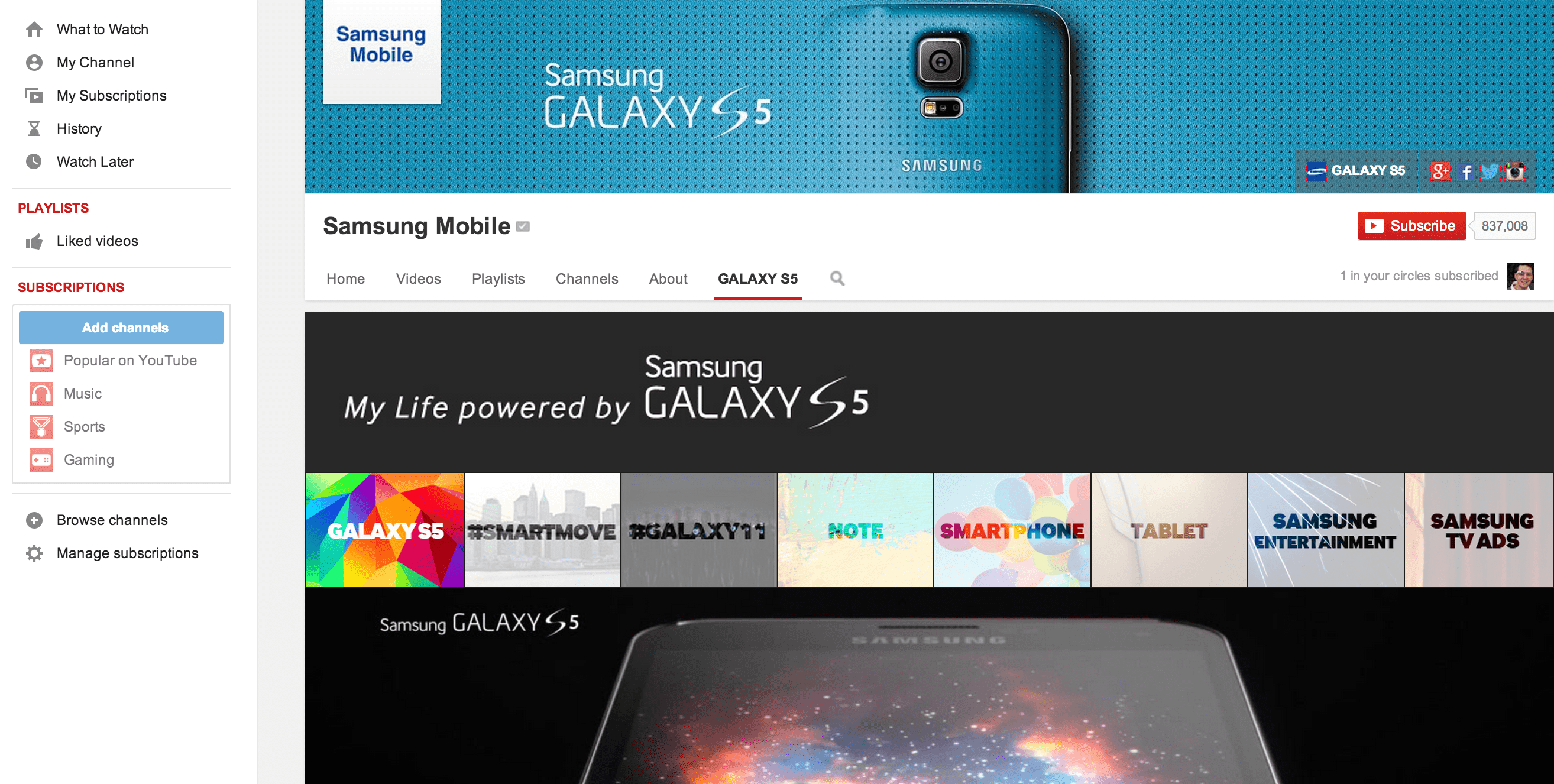 Samsung Mobile Marketing on Youtube