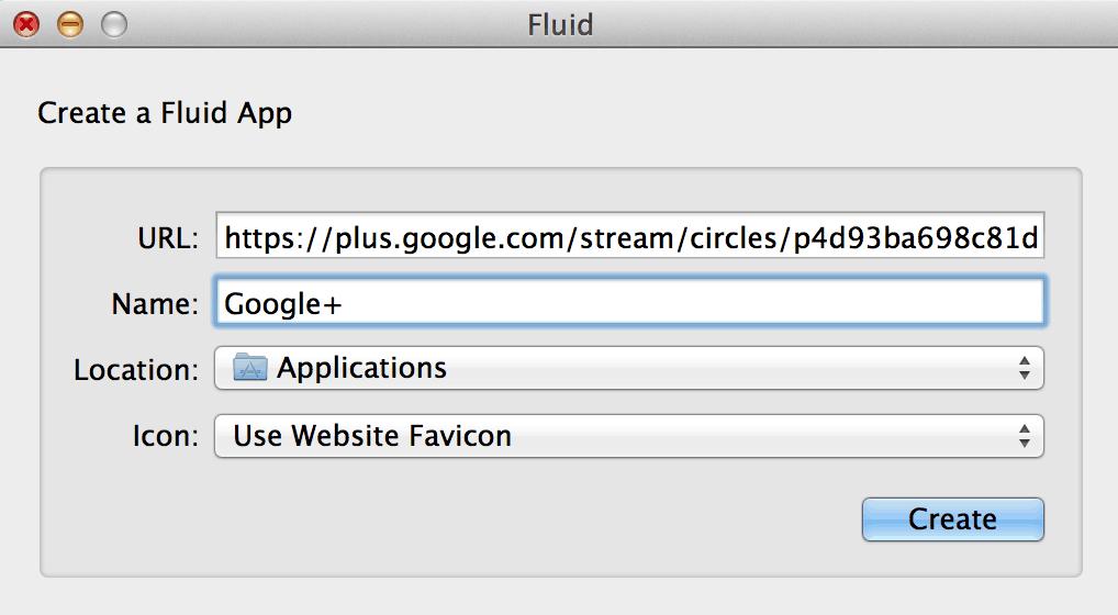 Google Plus for Fluid App for Mac