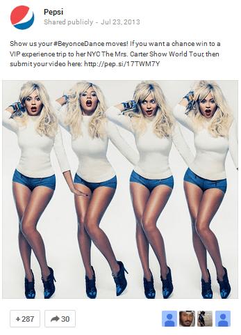 Beyonce promo Pepsi Google+