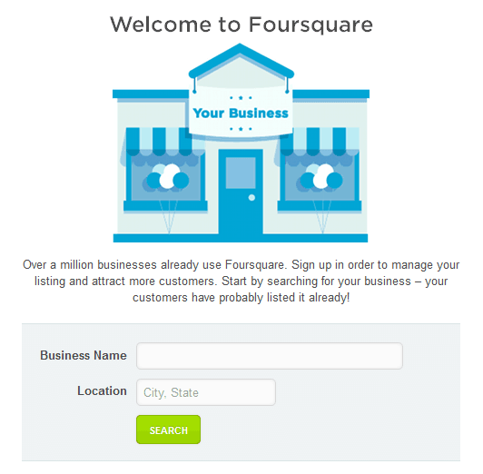 Foursquare Welcome Page