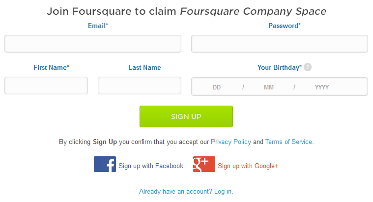 Foursquare Sign Up Page