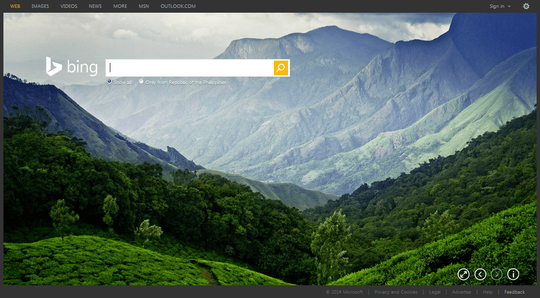 Bing home page pictures.
