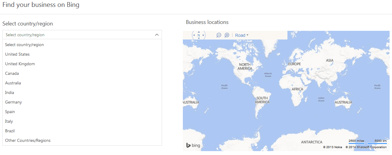 Search Bing Business Locations