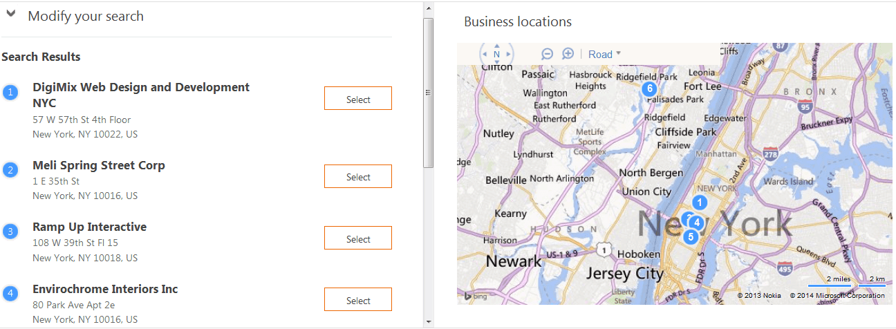 Bing Business List NYC