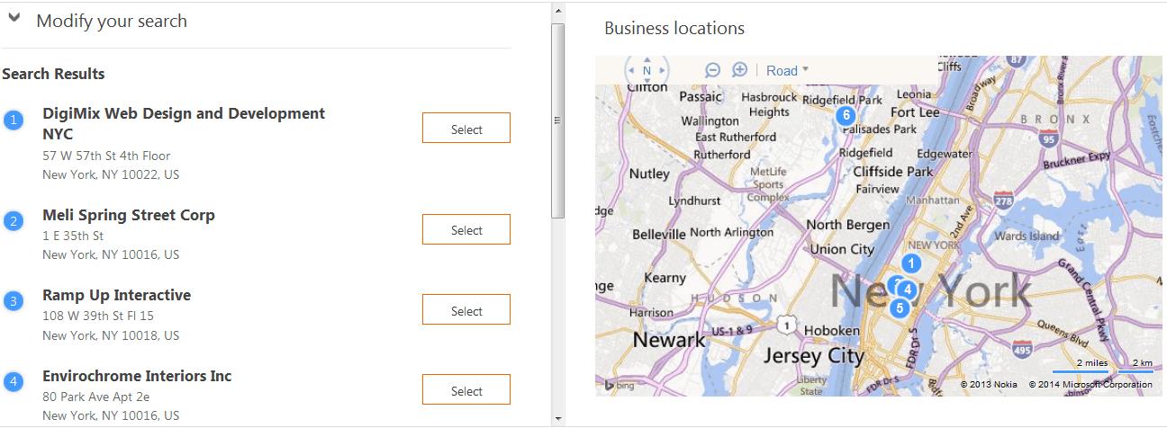 Bing Business List NYC