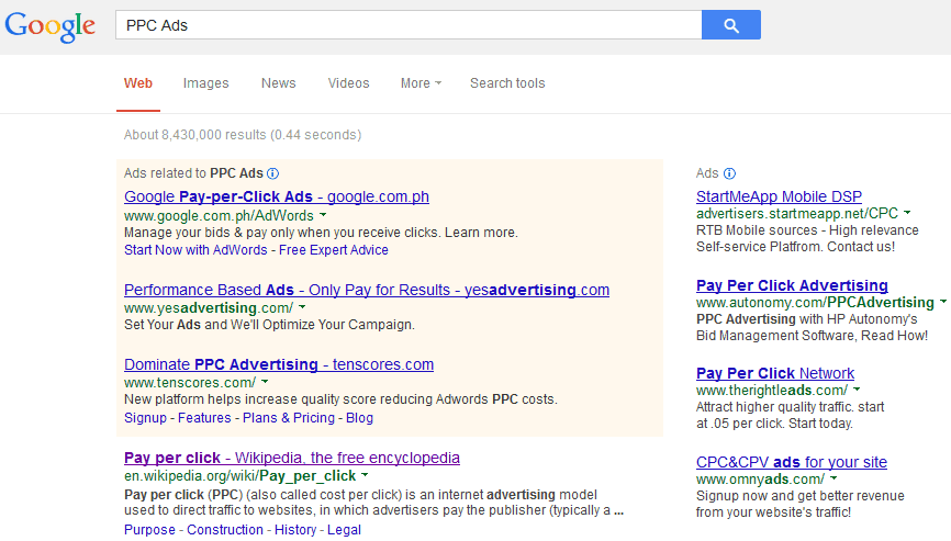 Example PPC Ad Pay Per Click