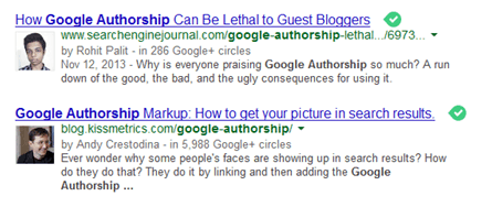 Google Author Authorship Rich Snippets SERP