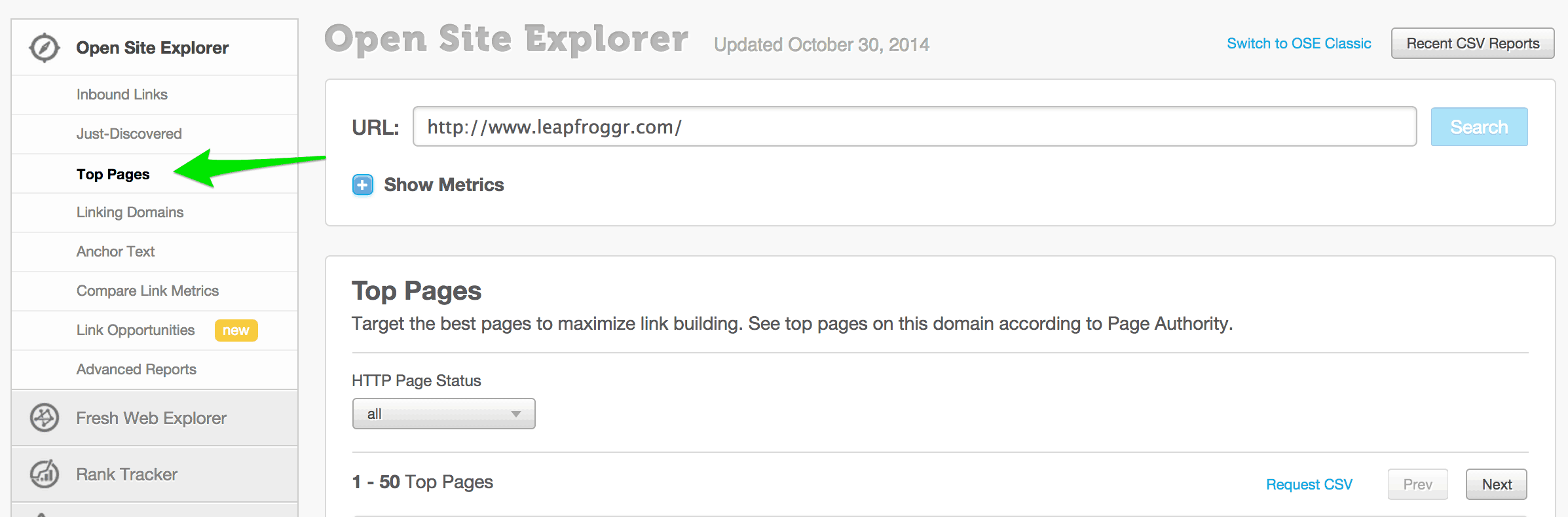Checking Top Pages on Open Site Explorer