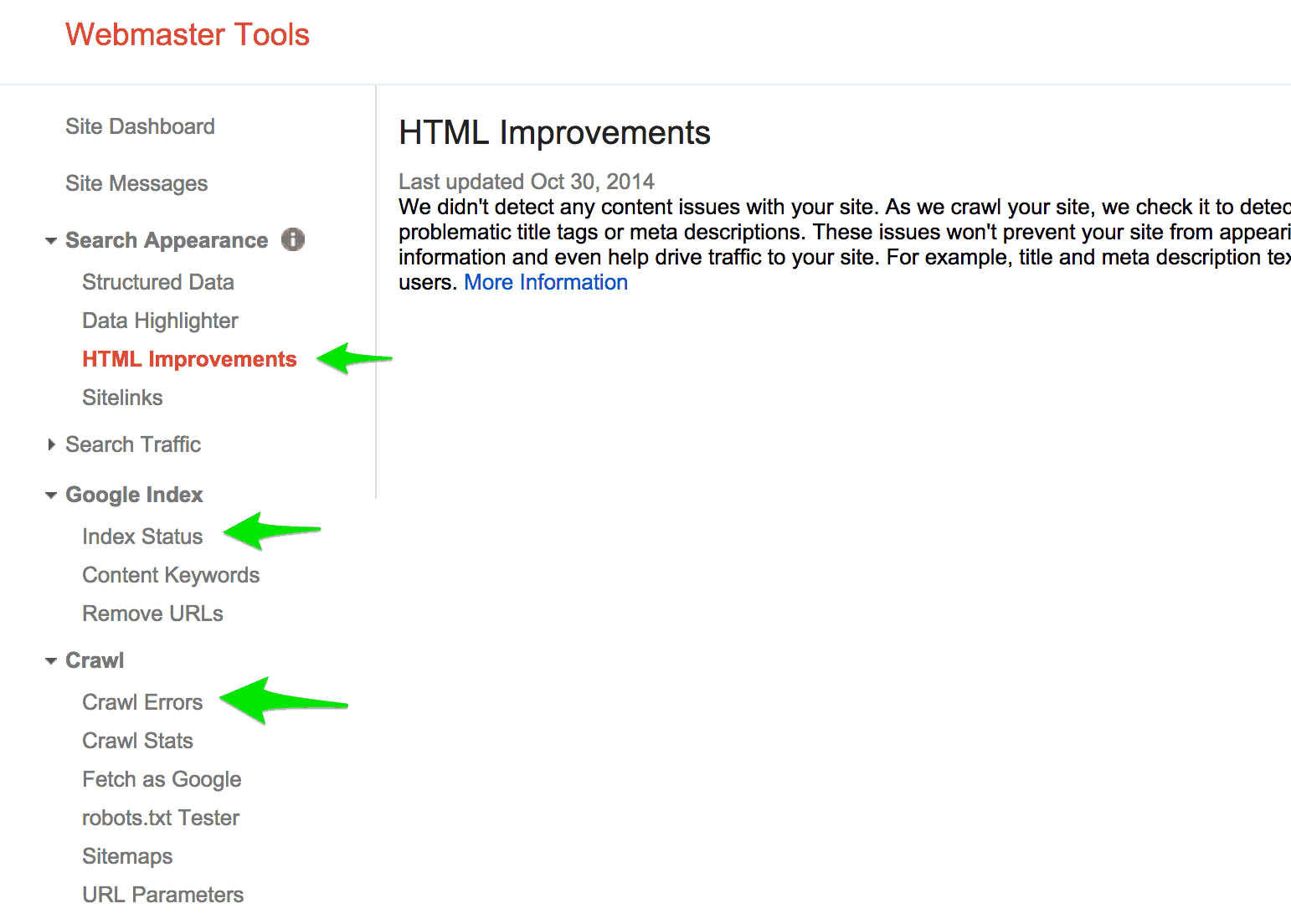 SEO Improvements Using Google Webmaster Tools