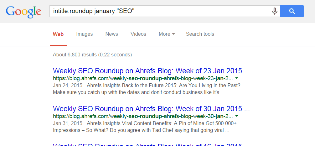 google search link roundup