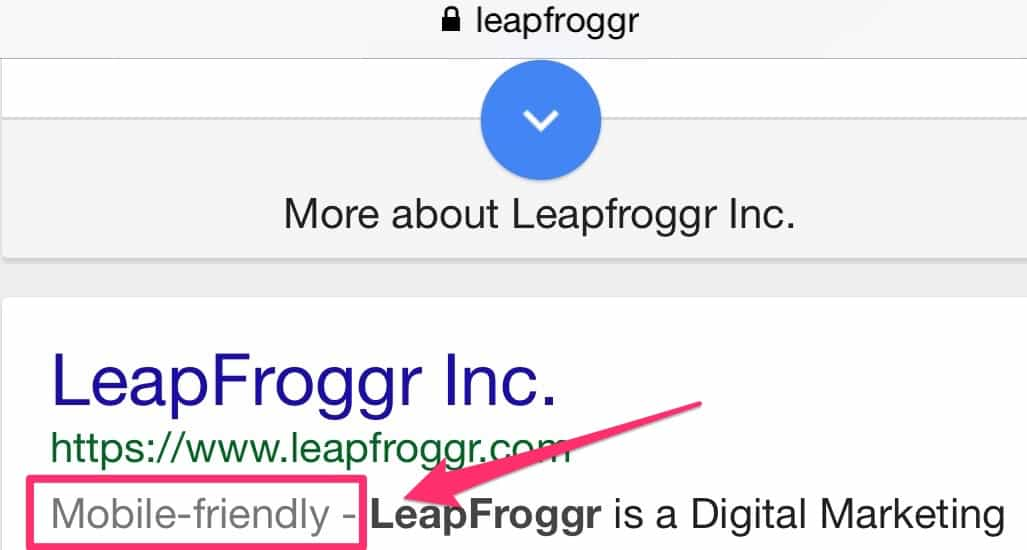 Mobile Ready in SERPS